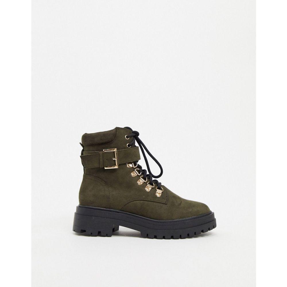 ミス セルフリッジ Miss Selfridge レディース ブーツ チャンキーヒール シューズ・靴【chunky boots with gold buckles in khaki】Khaki