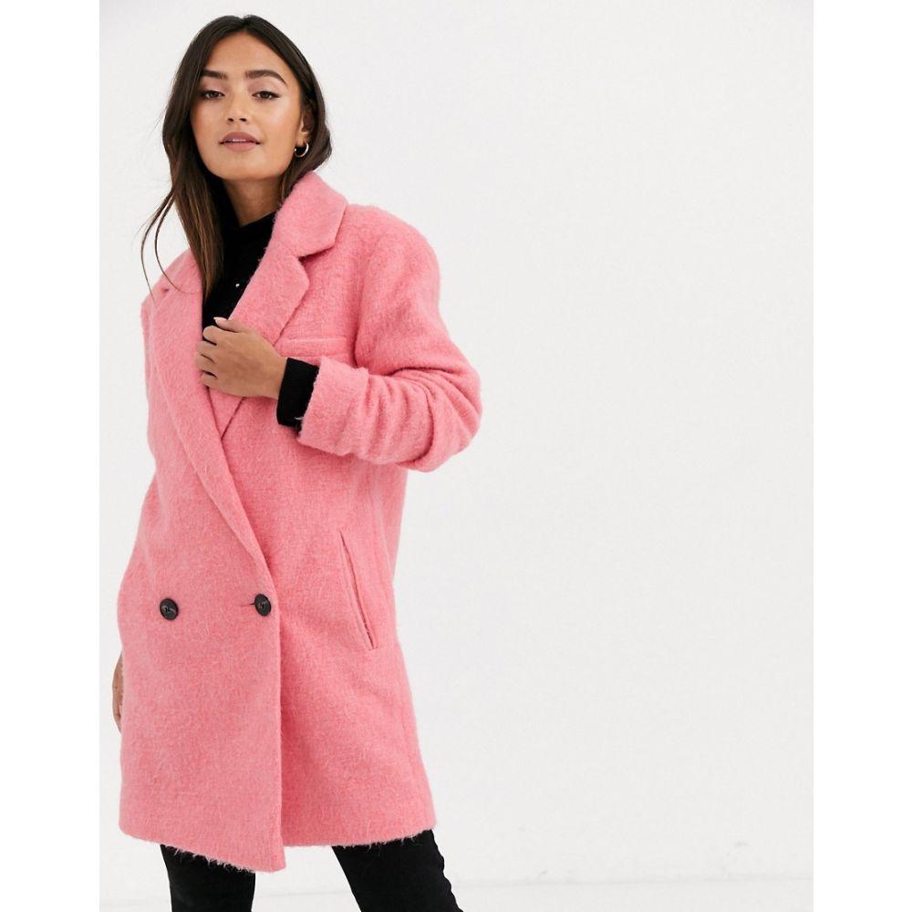 エイソス ASOS DESIGN レディース コート ロングコート アウター【longline brushed oversized coat in pink】Pink