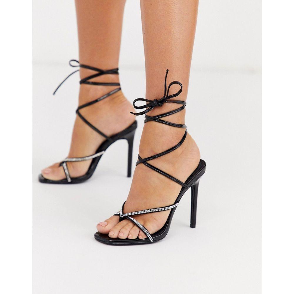 エイソス ASOS DESIGN レディース サンダル・ミュール シューズ・靴【Luxe Navigate embellished barely there heeled sandals in black】Black/rhinestone