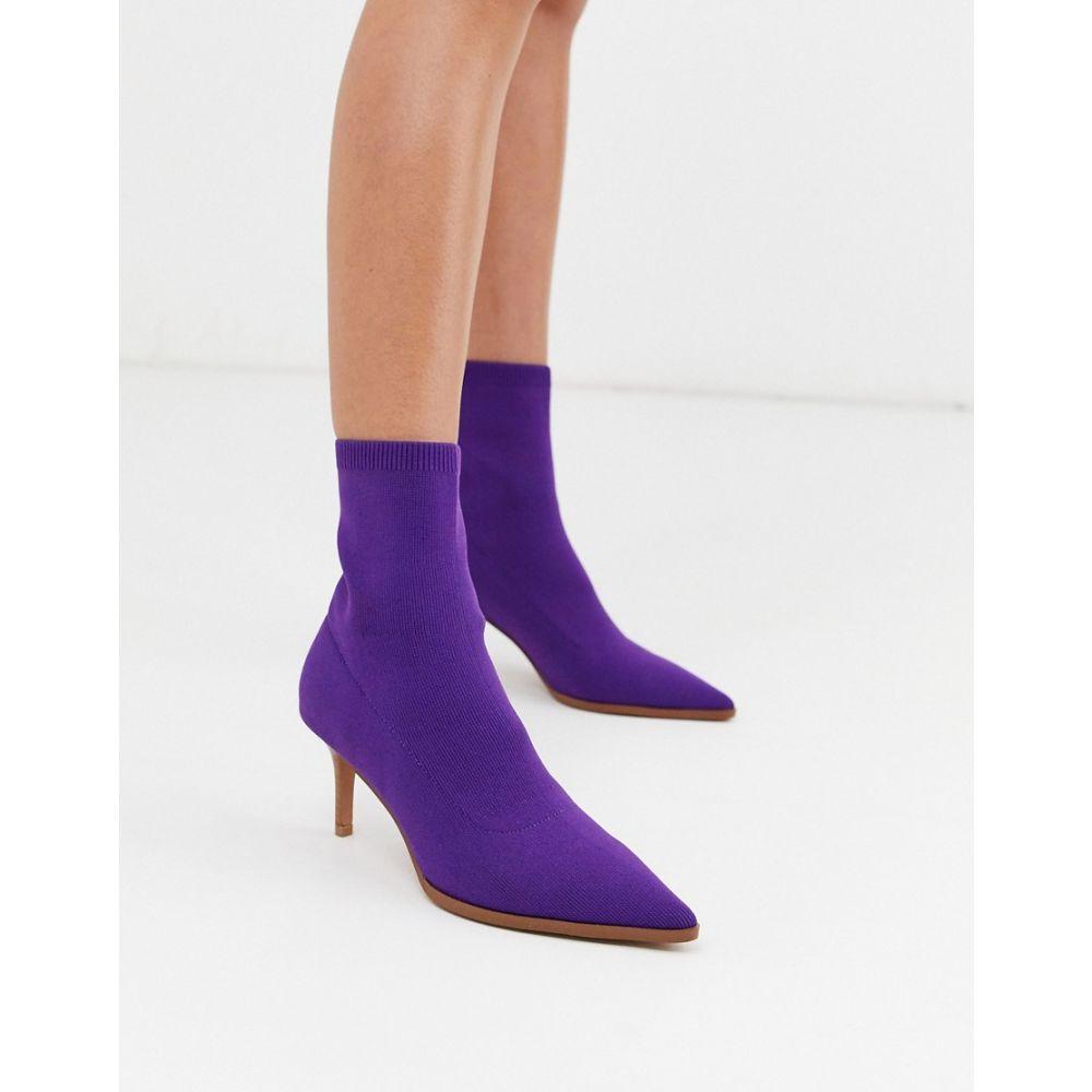 エイソス ASOS DESIGN レディース ブーツ キトゥンヒール シューズ・靴【Recharge kitten heel sock boots in purple】Purple