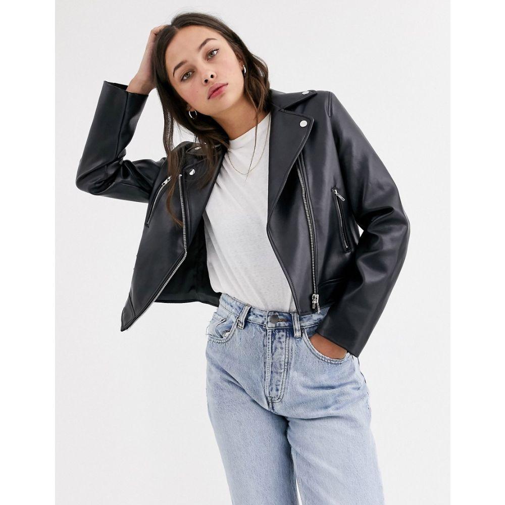エイソス ASOS DESIGN レディース レザージャケット ライダース アウター【ultimate faux leather biker jacket in black】Black