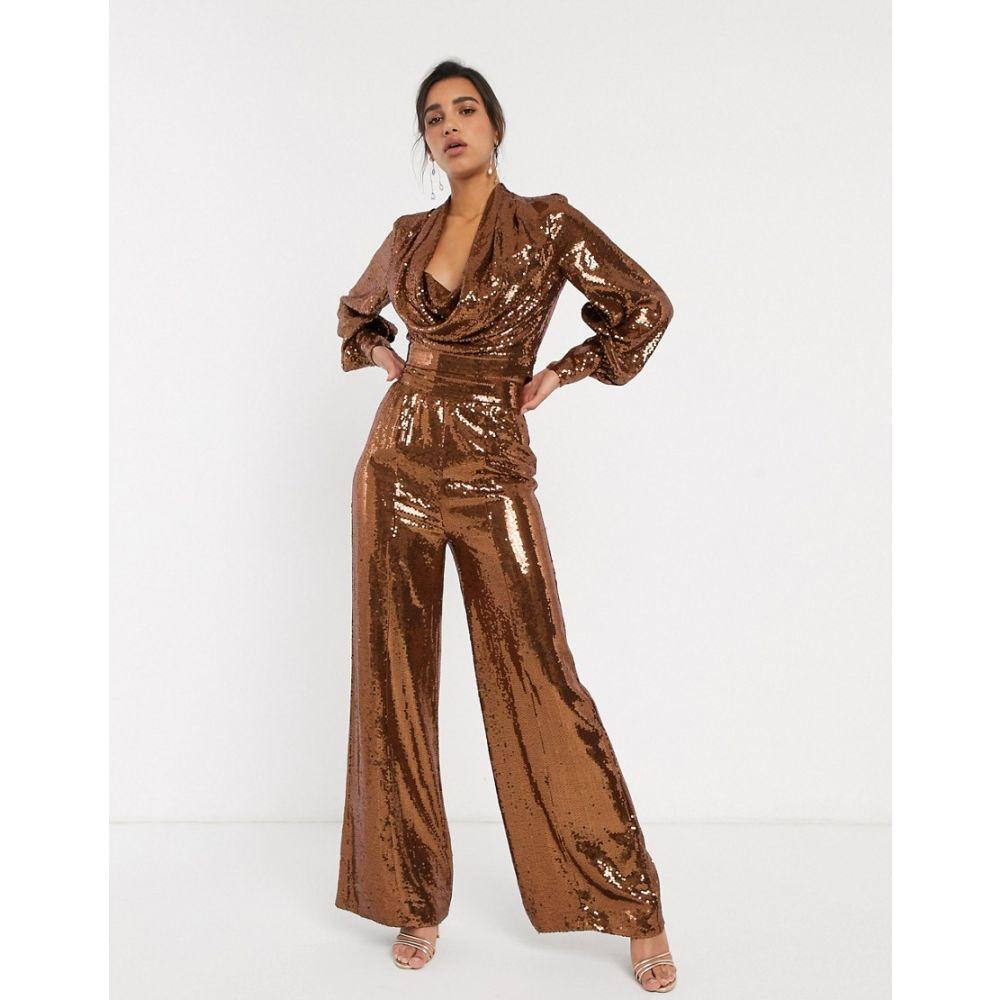 エイソス ASOS DESIGN レディース ボトムス・パンツ ワイドパンツ【all over sequin wide leg trouser with splits co-ord】Copper