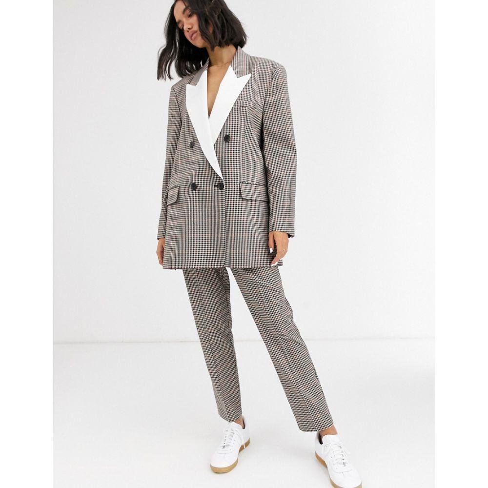 エイソス ASOS DESIGN レディース スキニー・スリム ボトムス・パンツ【check tux slim suit trousers】Check