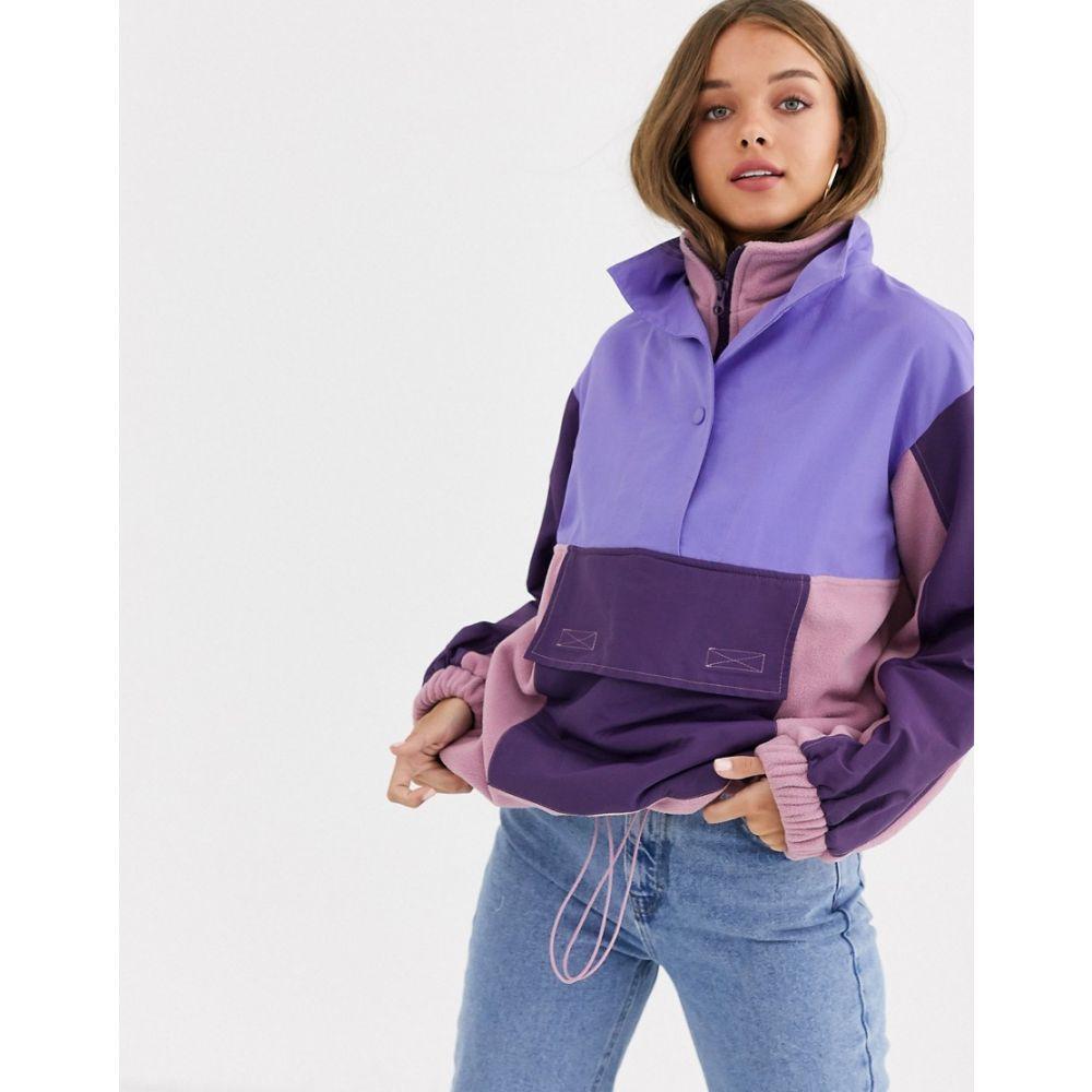 エイソス ASOS DESIGN レディース フリース トップス【blocked fleece jacket with nylon patching】Multi