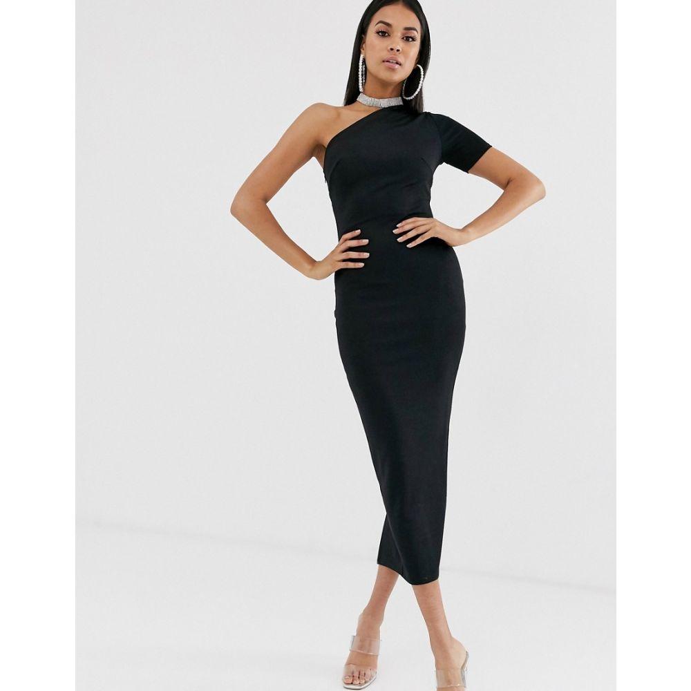 エイソス ASOS DESIGN レディース ワンピース ワンピース・ドレス【one shoulder minimal bandage dress】Black