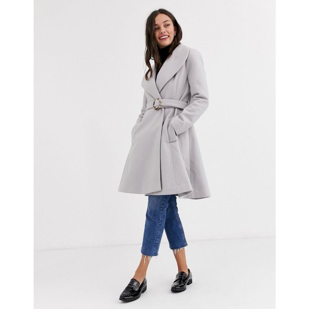 エイソス ASOS DESIGN レディース コート ロングコート アウター【longline belted skater coat in grey】Grey