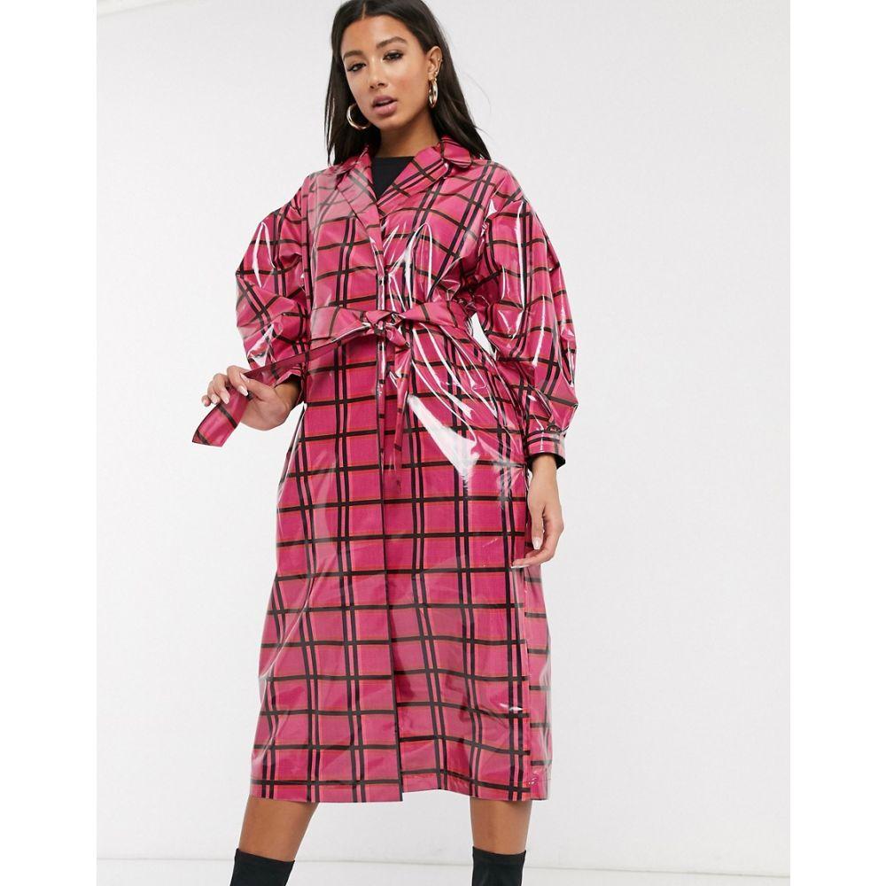 エイソス ASOS DESIGN レディース トレンチコート アウター【vinyl check trench coat in pink】Pink check