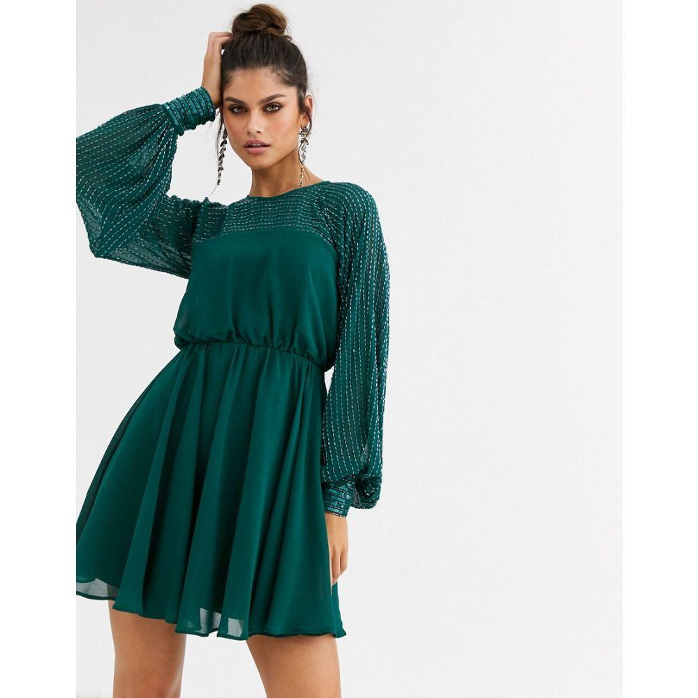 エイソス ASOS DESIGN レディース ワンピース ミニ丈 ワンピース・ドレス【mini dress with linear yoke embellishment】Forest green