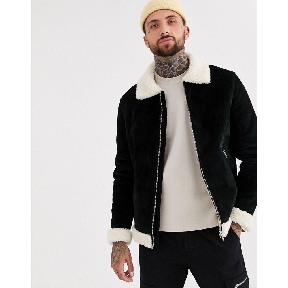 エイソス ASOS DESIGN メンズ ブルゾン フライトジャケット アウター【suede flight jacket in black with ecru fur】Black