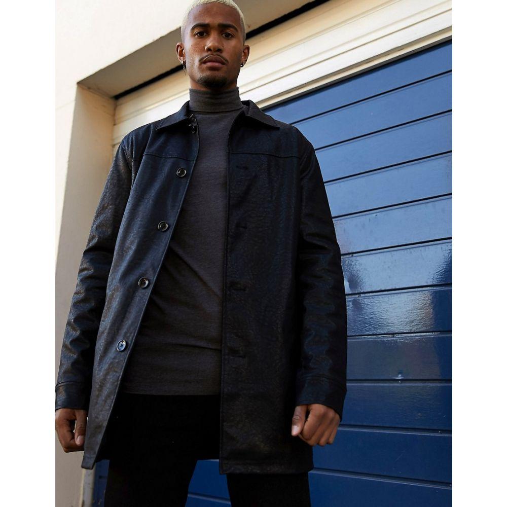 エイソス ASOS DESIGN メンズ トレンチコート アウター【single breasted faux leather trench coat in black】Black