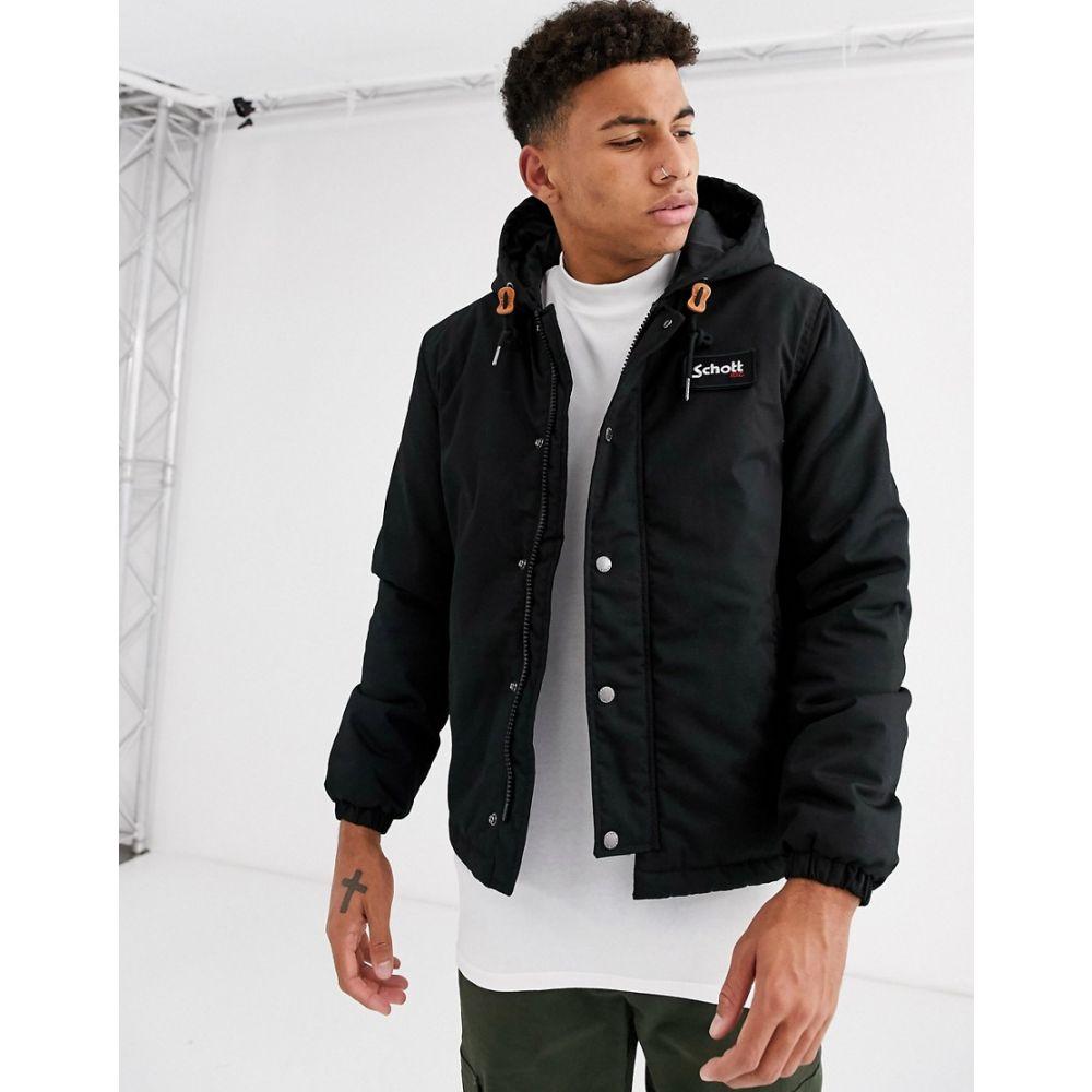 ショット Schott メンズ コート フード アウター【hooded parka jacket in black】Black