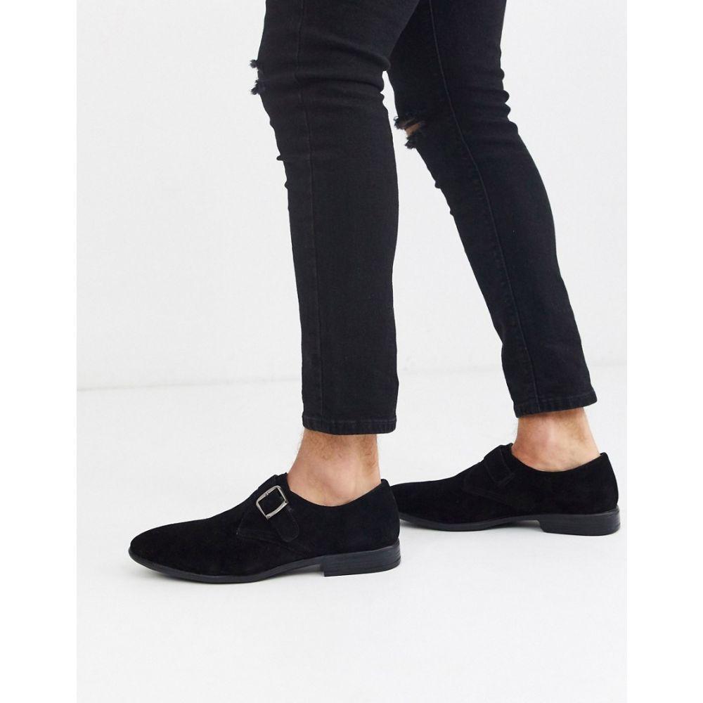 リバーアイランド River Island メンズ 革靴・ビジネスシューズ シューズ・靴【suede monk shoe in black】Black