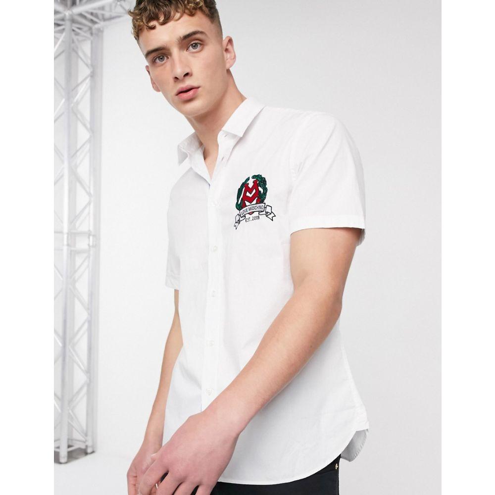 モスキーノ Love Moschino メンズ 半袖シャツ トップス【crest short sleeve shirt】White