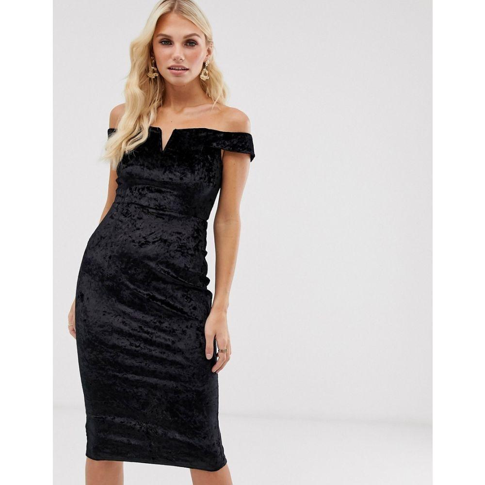 アックスパリス AX Paris レディース ボディコンドレス ワンピース・ドレス【velvet bardot bodycon dress】Black