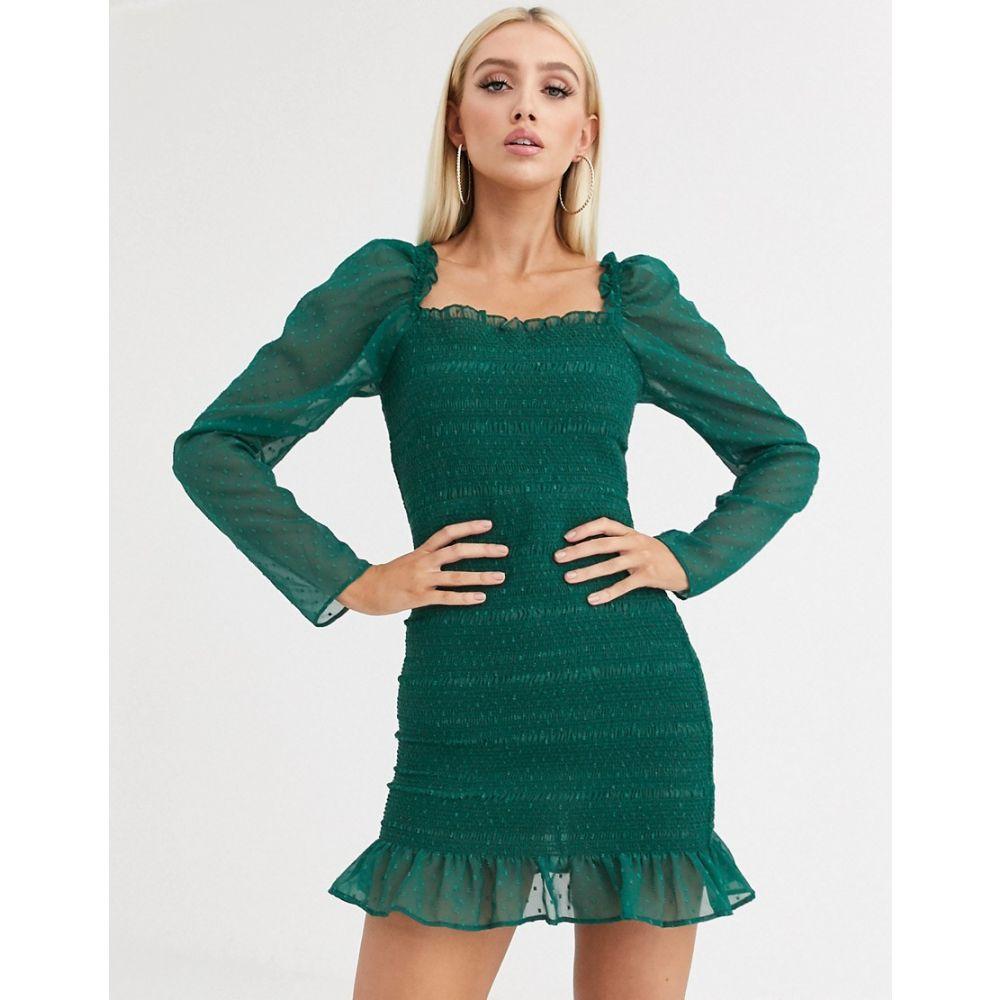 エイソス ASOS DESIGN レディース ワンピース ミニ丈 ワンピース・ドレス【shirred mini dress in dobby】Forest green