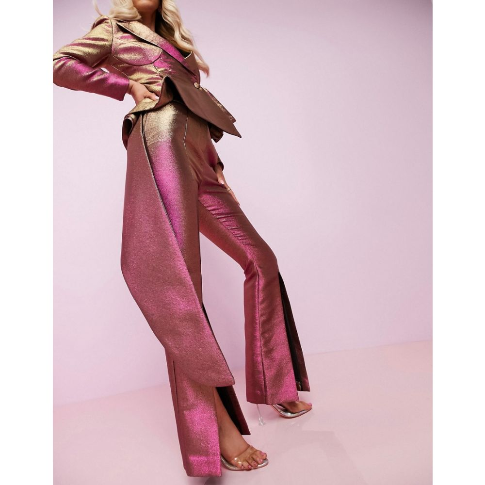 エイソス ASOS DESIGN レディース ボトムス・パンツ 【Luxe two tone split front flare trousers】Gold/pink