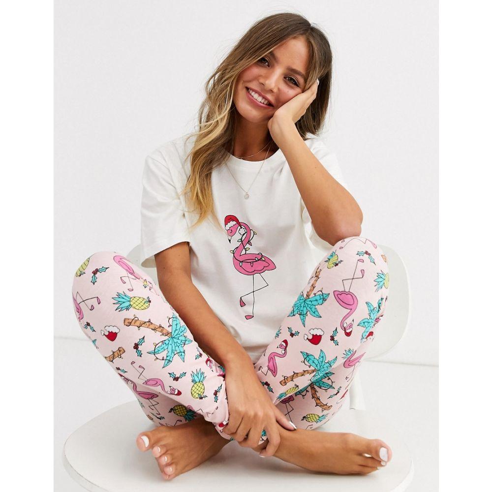 エイソス ASOS DESIGN レディース パジャマ・上下セット インナー・下着【Christmas I'm lit flamingo tee & legging pyjama set】Pink