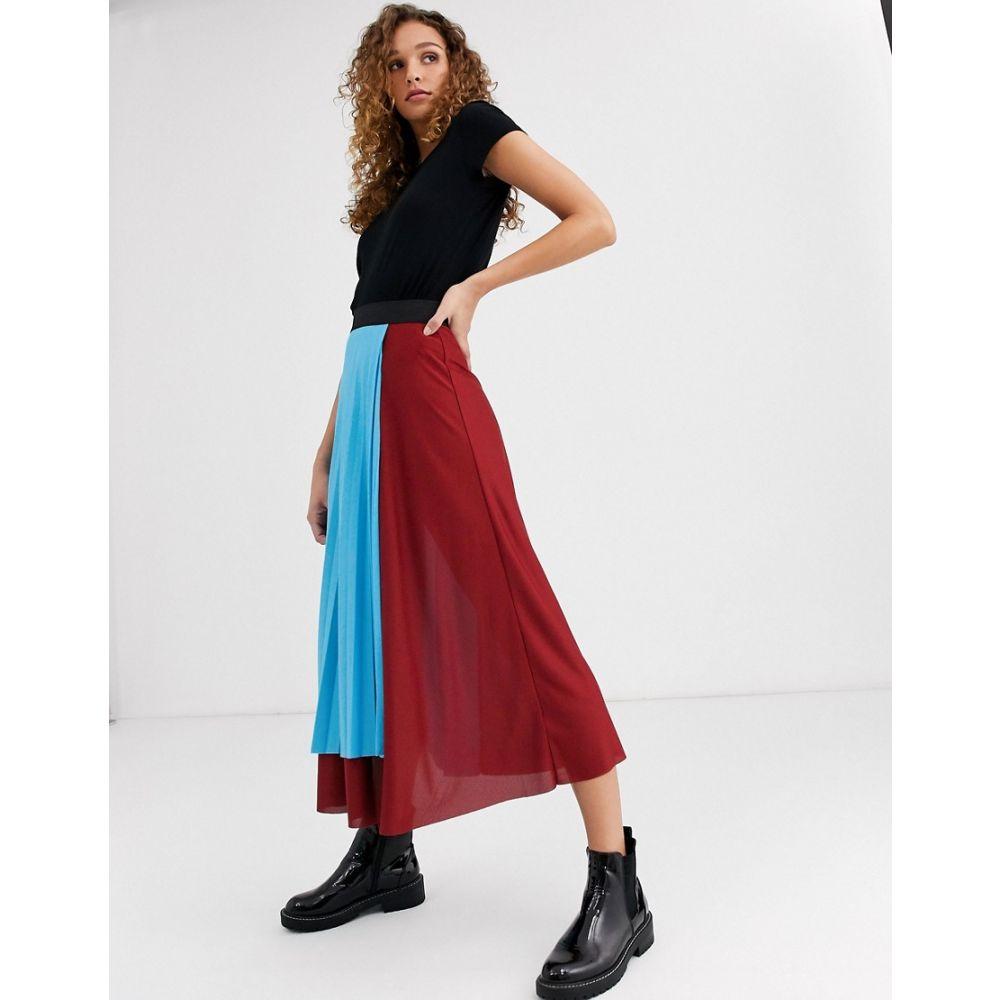 エイソス ASOS DESIGN レディース ひざ丈スカート ラップスカート スカート【colour block pleated wrap midi skirt】Multi