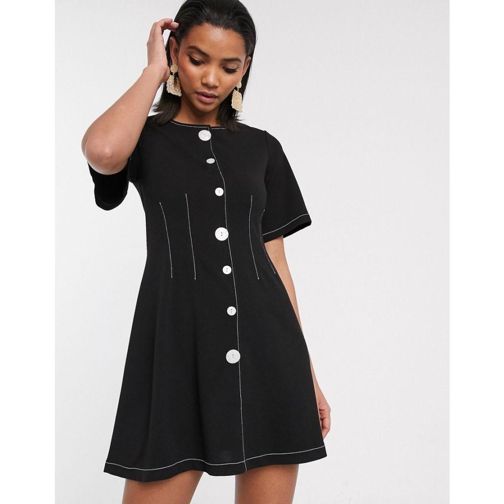 エイソス ASOS DESIGN レディース ワンピース ミニ丈 ワンピース・ドレス【contrast stitch button through mini dress】Black
