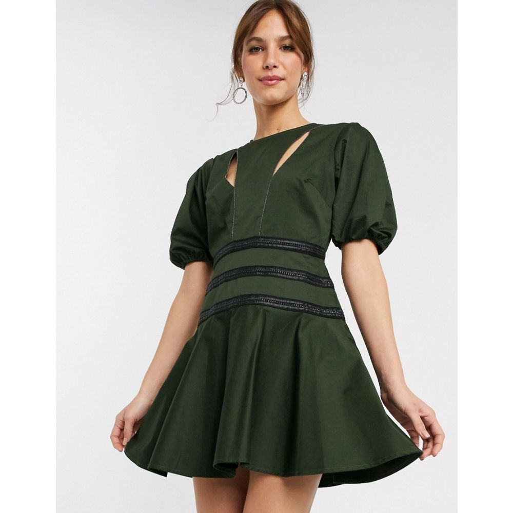 エイソス ASOS DESIGN レディース ワンピース ミニ丈 ワンピース・ドレス【chain detail structured mini dress with puff sleeve】Forest green