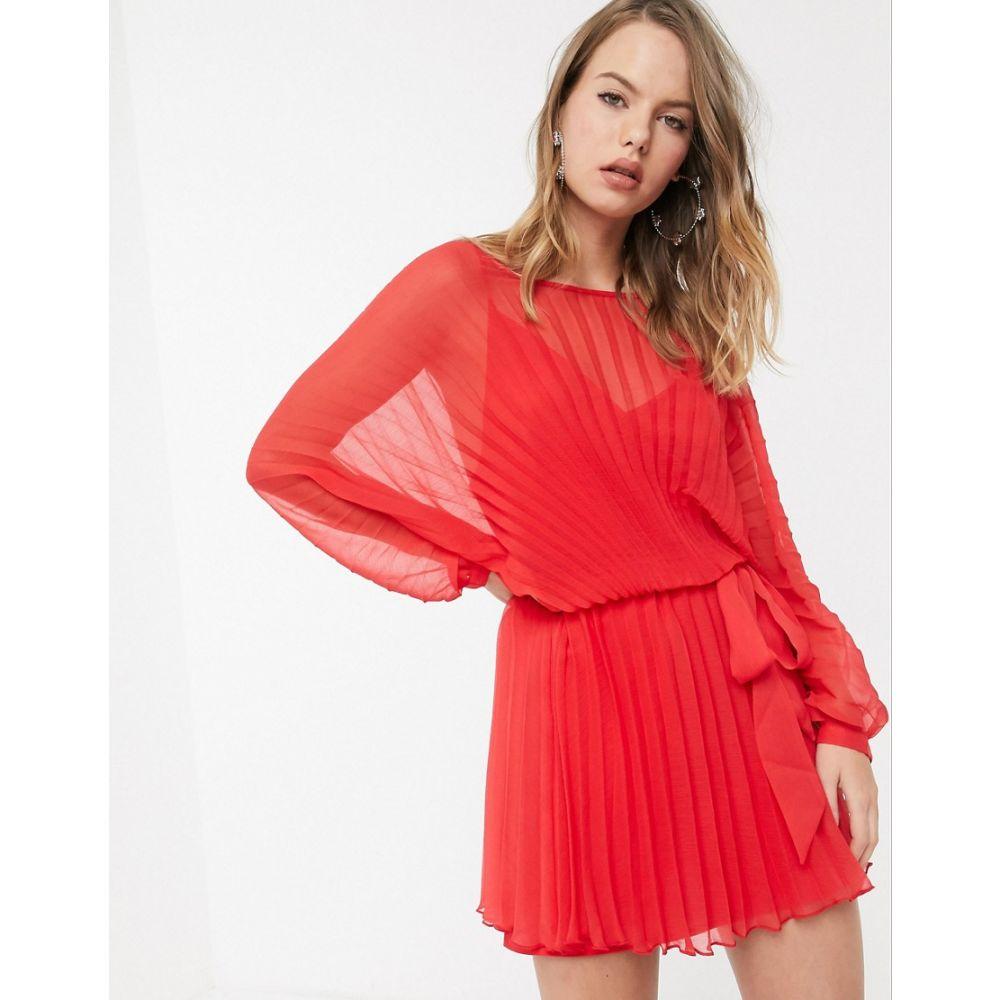 エイソス ASOS DESIGN レディース ワンピース ミニ丈 ワンピース・ドレス【blouson pleated mini dress with self belt】Red