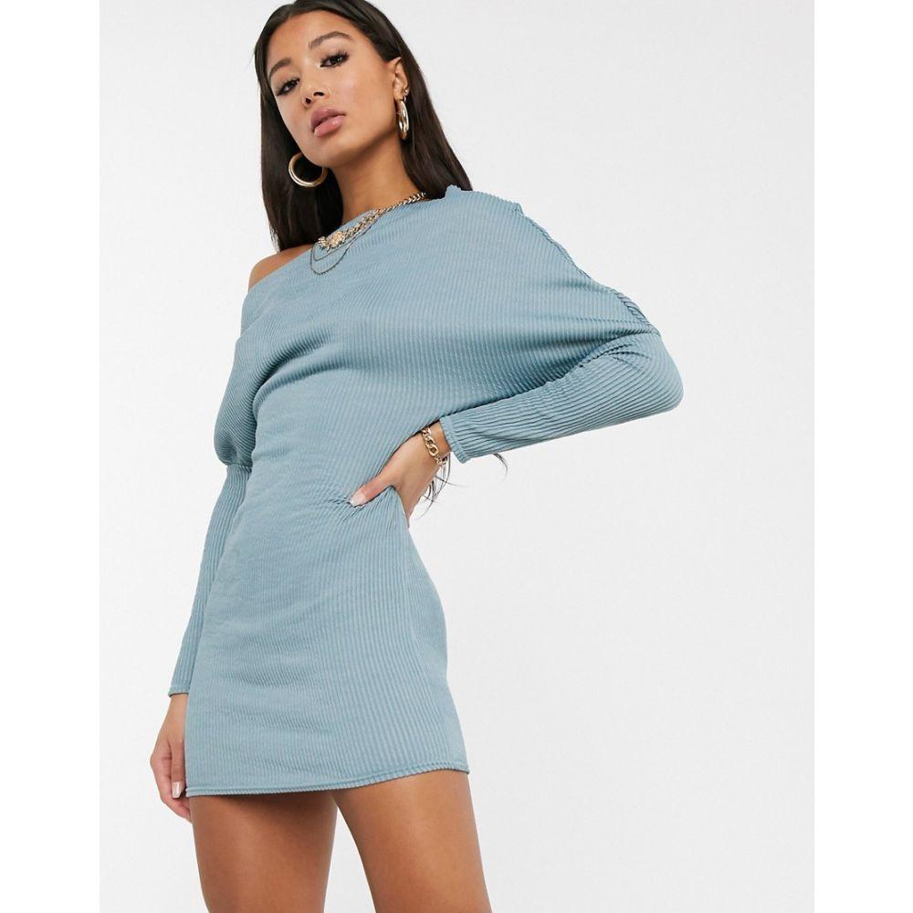エイソス ASOS DESIGN レディース ボディコンドレス ワンピース・ドレス【off the shoulder bodycon sweat dress】Blue