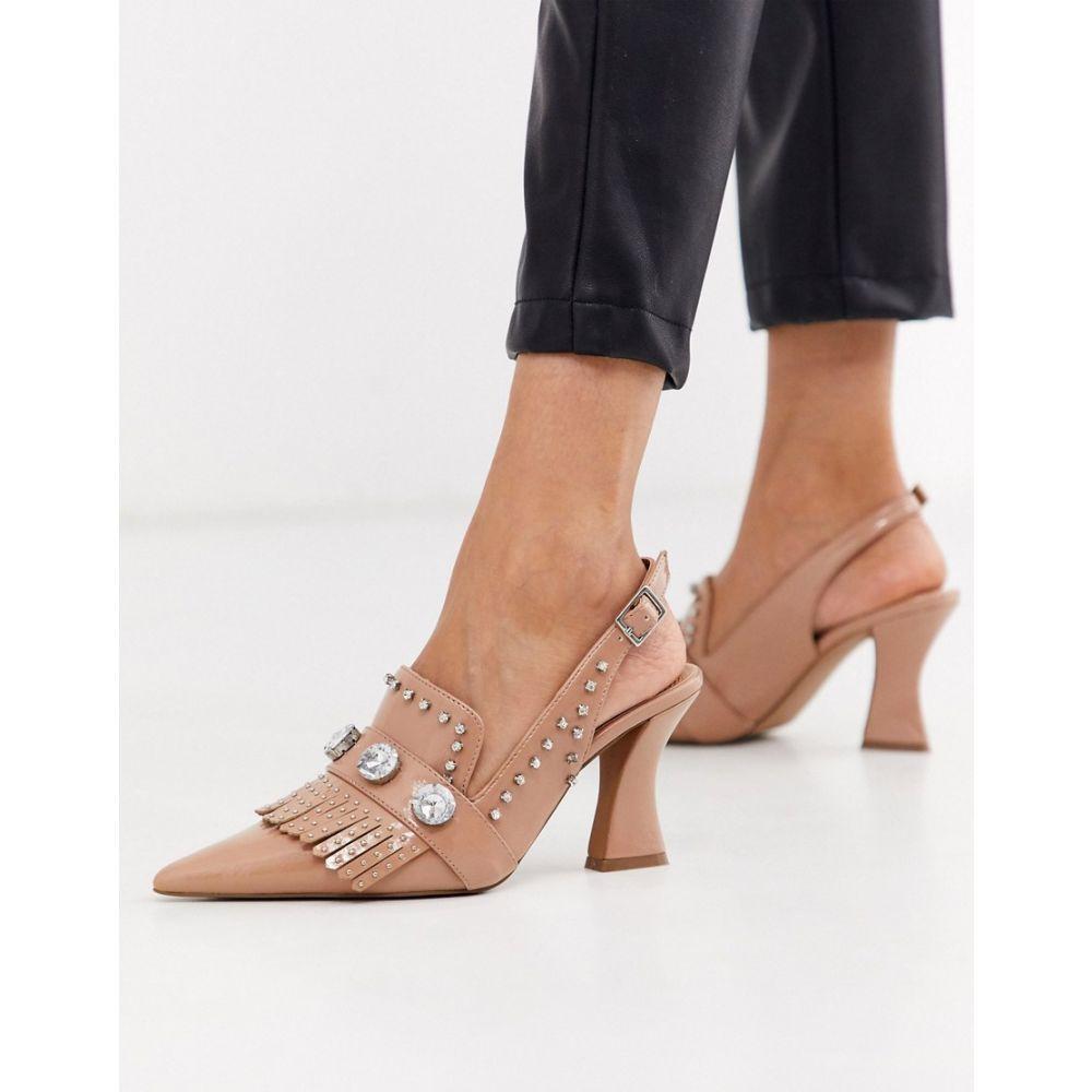 エイソス ASOS DESIGN レディース ローファー・オックスフォード シューズ・靴【Sterling embellished loafer heels in beige patent】Beige patent