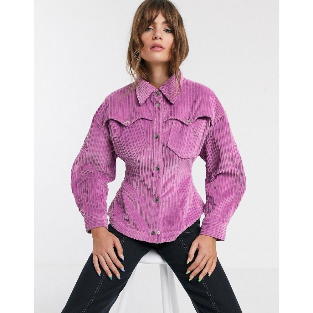 エイソス ASOS WHITE レディース ブラウス・シャツ トップス【bold shoulder cord shirt】Pink
