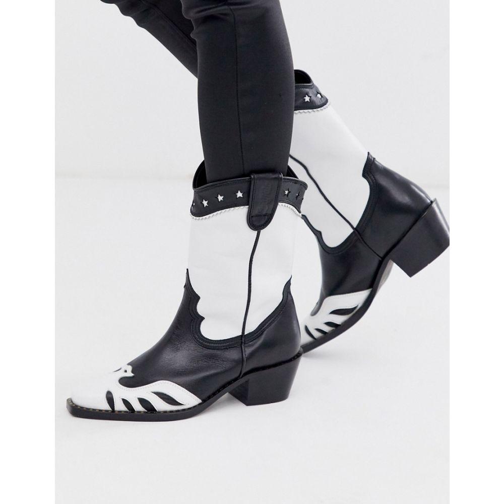 バッファロー Buffalo レディース ブーツ カウボーイブーツ ウェスタンブーツ シューズ・靴【London Gerda western cowboy boots in mono】Black/white
