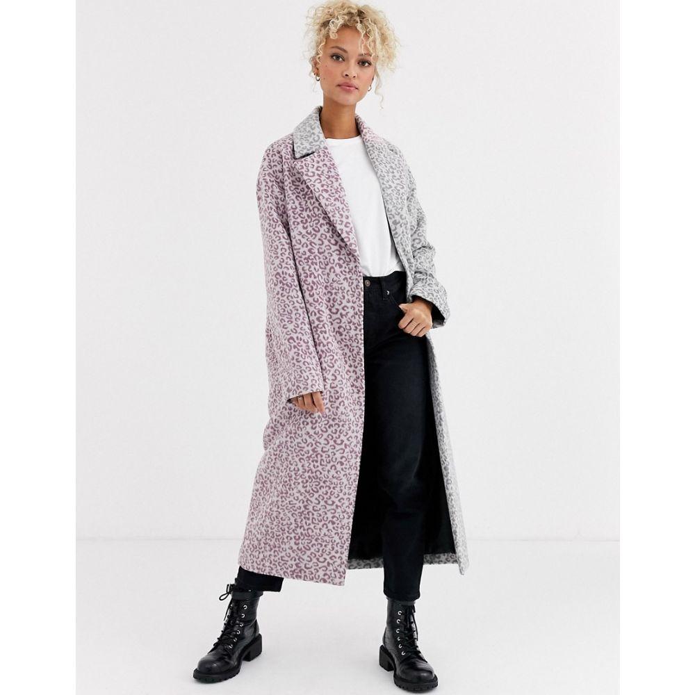 エイソス ASOS DESIGN レディース コート アウター【mix leopard brushed coat】Multi
