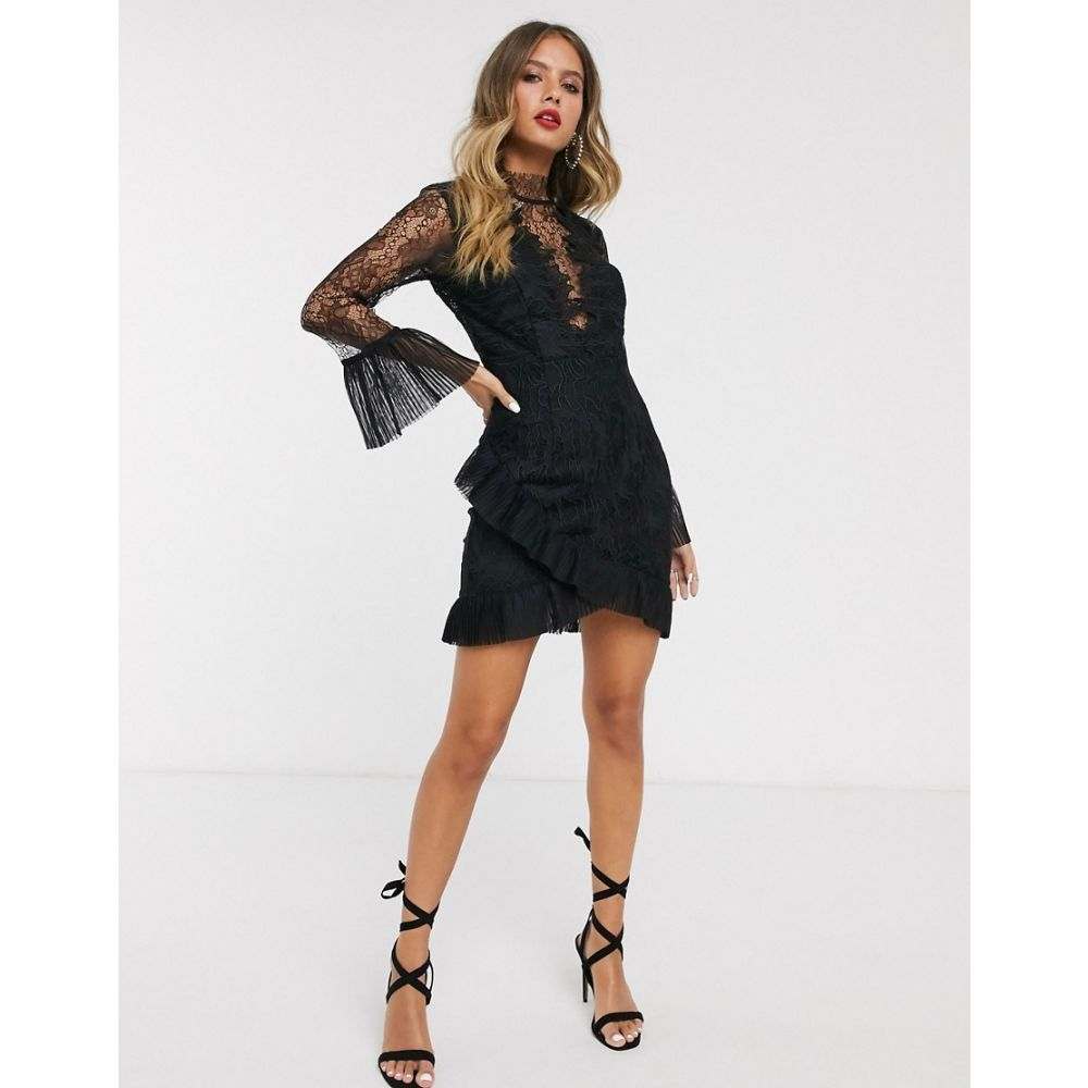 バルドー Bardot レディース ワンピース ミニ丈 ワンピース・ドレス【high low lace mini dress with fluted sleeves in black】Black