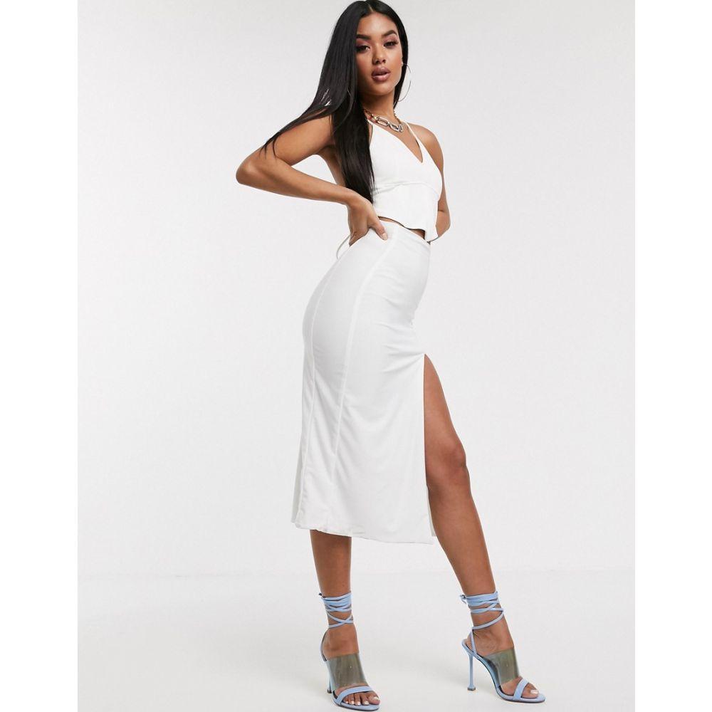 AYM スタジオ AYM Studio レディース ロング・マキシ丈スカート スカート【AYM Premium midaxi skirt with high thigh split in white】White