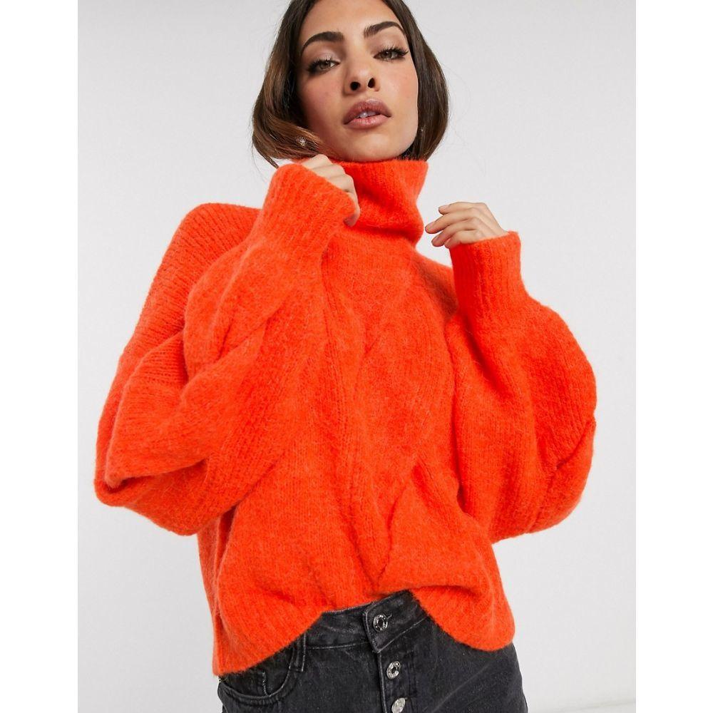 ワイ エー エス Y.A.S レディース ニット・セーター トップス【roll neck chunky cable knit jumper】Bright red