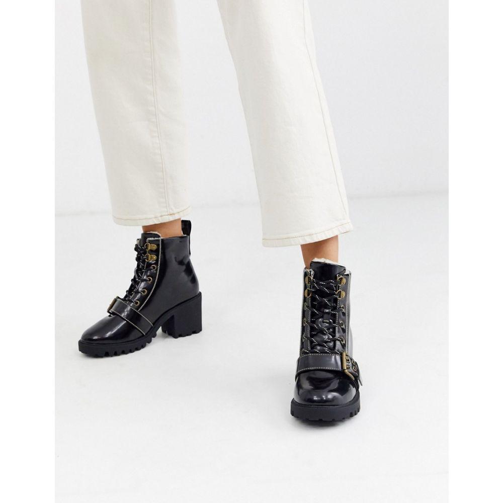 リバーアイランド River Island レディース ハイキング・登山 ブーツ シューズ・靴【heeled hiking boot with buckle detail in black】Black