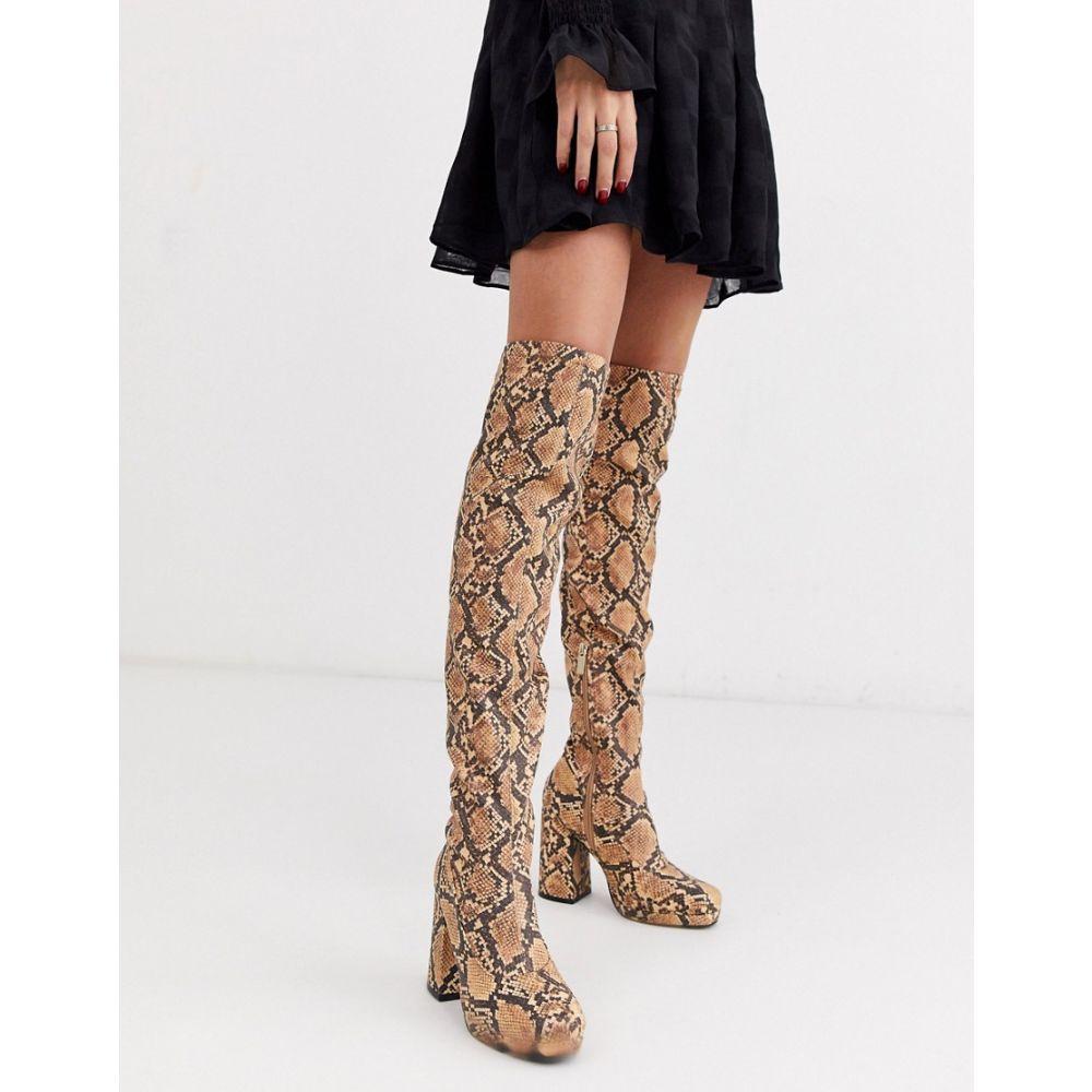 リバーアイランド River Island レディース ブーツ ニーハイブーツ シューズ・靴【over the knee platform boots in snake】Snake