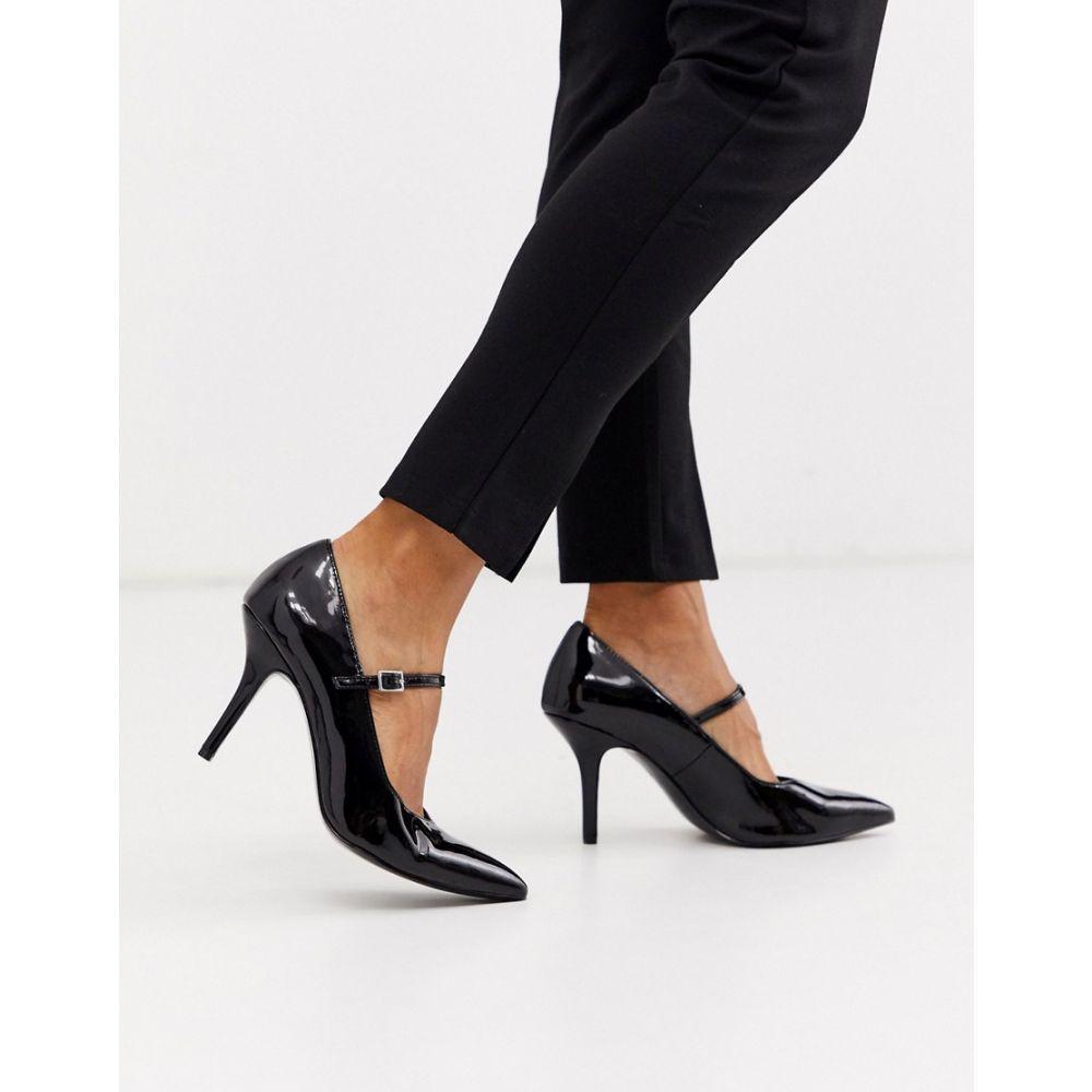 エイソス ASOS DESIGN レディース ヒール シューズ・靴【Strallen mary-jane mid heels in black patent】Black patent