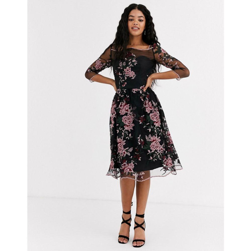 チチロンドン Chi Chi London レディース ワンピース ミドル丈 ワンピース・ドレス【mesh embroidered midi dress in multi】Multi