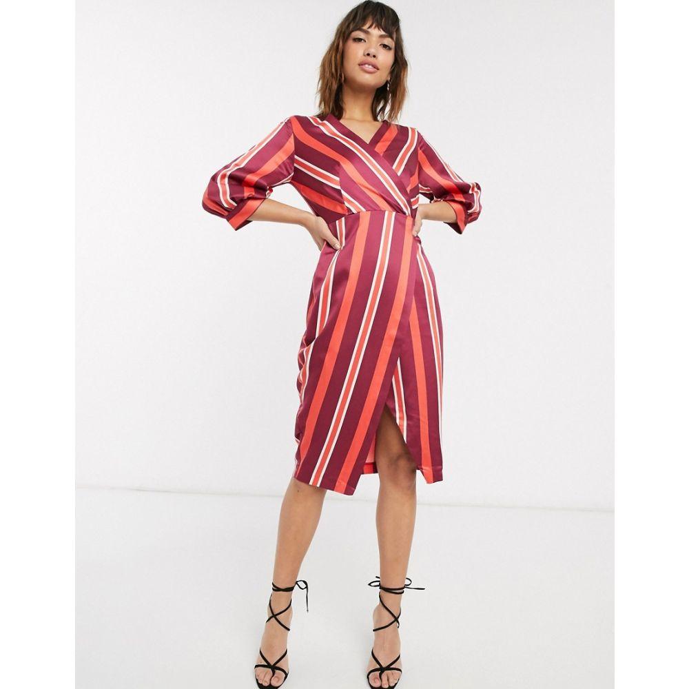クローゼットロンドン Closet London レディース ワンピース ラップドレス ワンピース・ドレス【Closet puff sleeve wrap dress】Red
