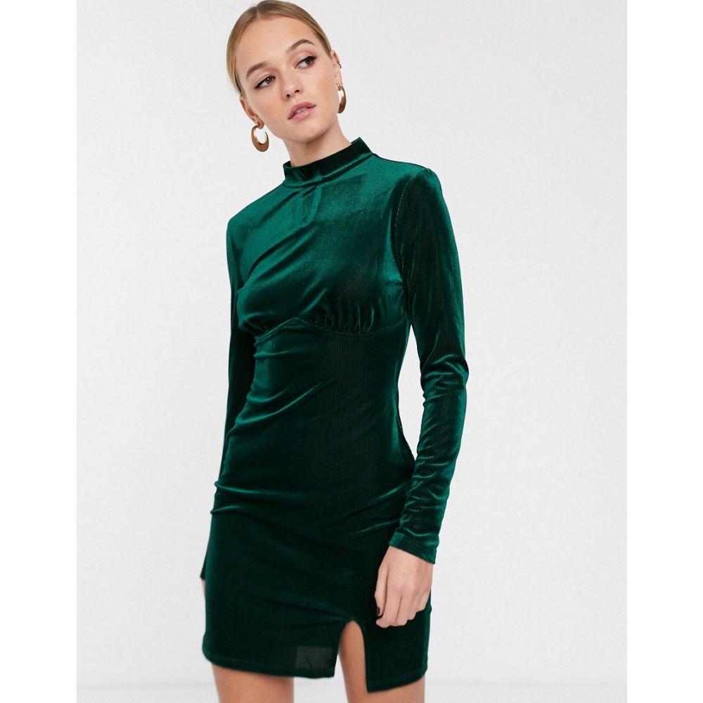 グラマラス Glamorous レディース ワンピース ミニ丈 ワンピース・ドレス【high neck mini dress with structured bodice in velvet】Emerald green