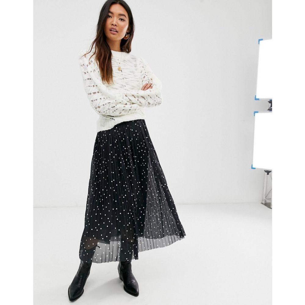 レブトルーム Levete Room レディース ひざ丈スカート スカート【mesh polka dot pleated midi skirt】Black polka dot
