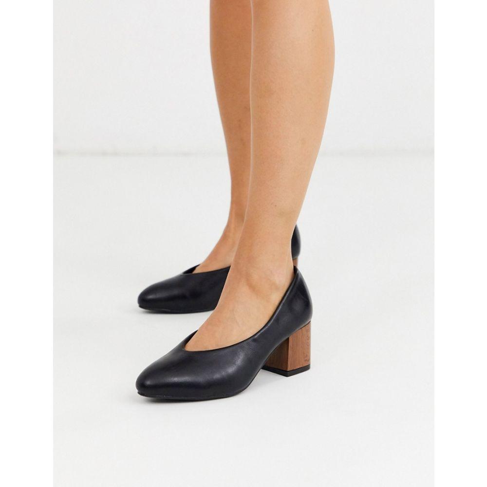 イチ Ichi レディース パンプス シューズ・靴【faux leather wood heel court shoes】Black