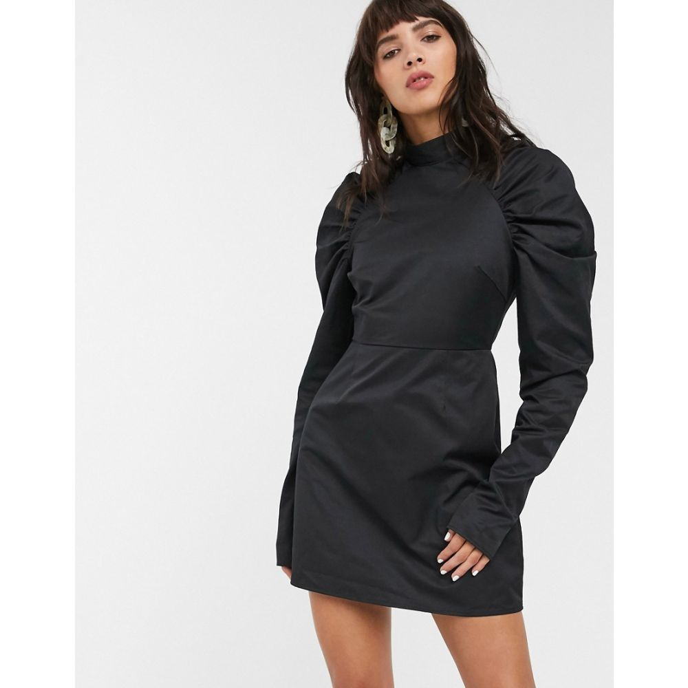 グラマラス Glamorous レディース ワンピース シフトドレス ミニ丈 ワンピース・ドレス【mini shift dress with structured puff sleeves】Black