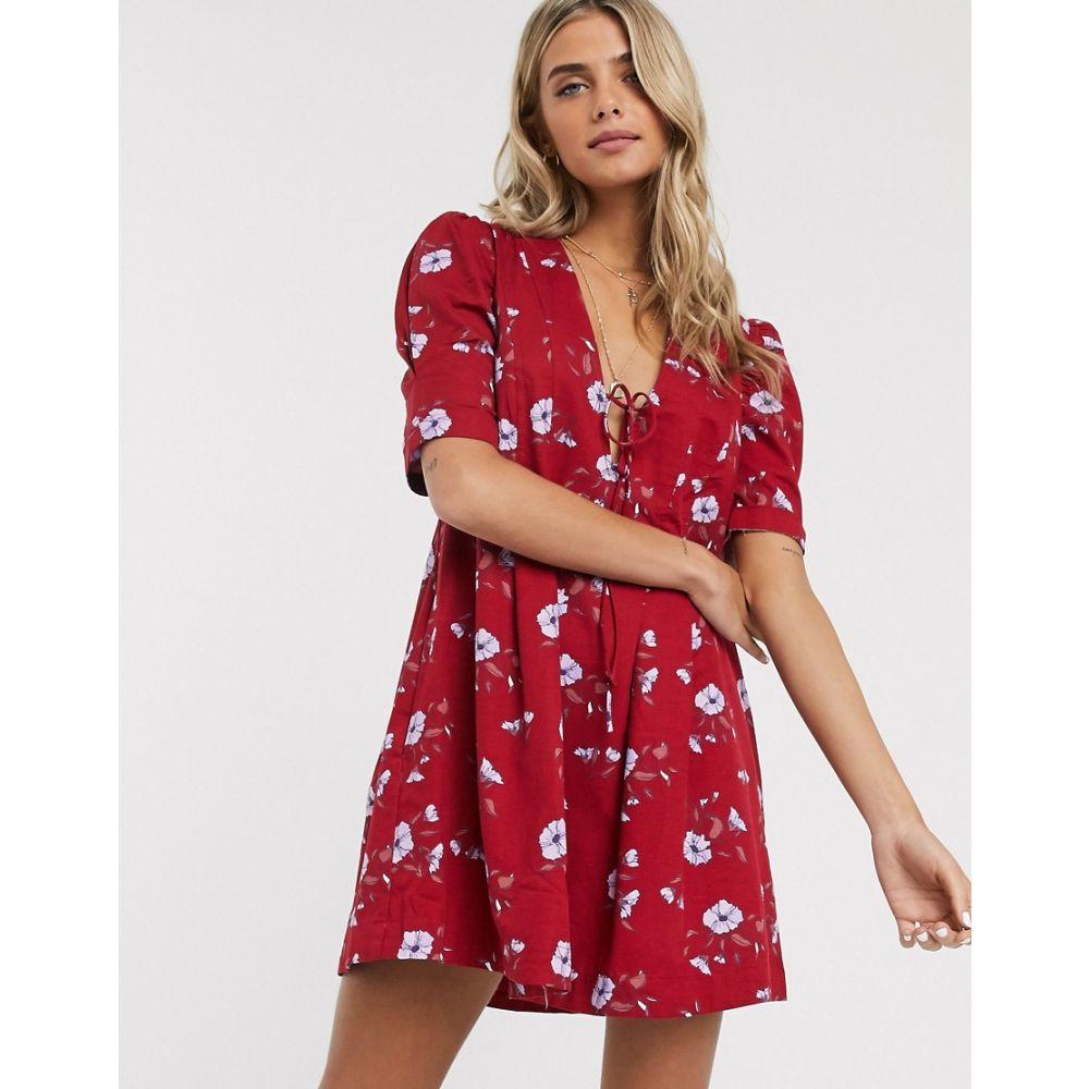 フリーピープル Free People レディース ワンピース チュニックドレス ワンピース・ドレス【Adelle printed tunic dress】Red