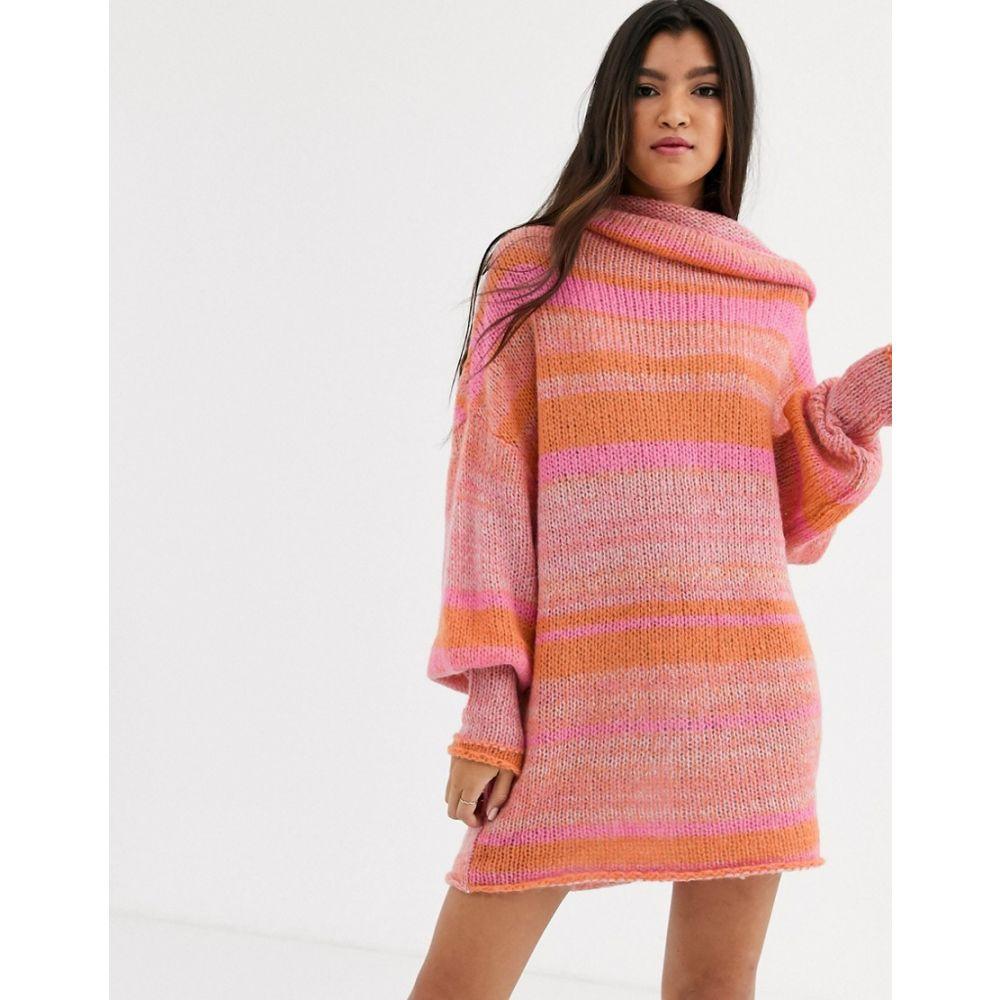 フリーピープル Free People レディース ワンピース ワンピース・ドレス【Candy Stripe jumper dress】Dk pink