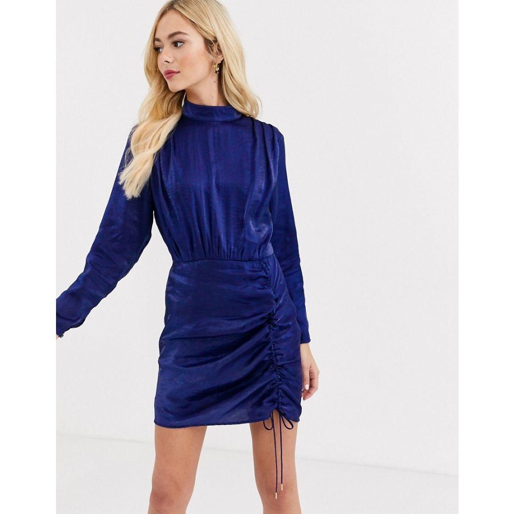 ファインダーズ キーパーズ Finders Keepers レディース ワンピース ワンピース・ドレス【rouche detail long sleeve satin dress in midnight blue】Midnight blue