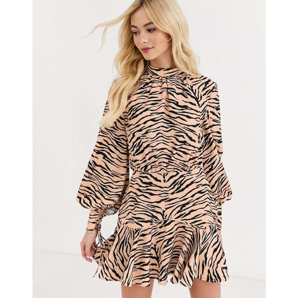 ファインダーズ キーパーズ Finders Keepers レディース ワンピース ワンピース・ドレス【high neck long sleeve dress in tiger print】Tiger
