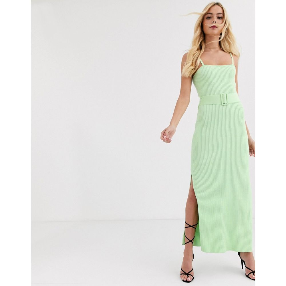 ファインダーズ キーパーズ Finders Keepers レディース ワンピース ワンピース・ドレス【ribbed knit dress with belt in lime green】Lime green