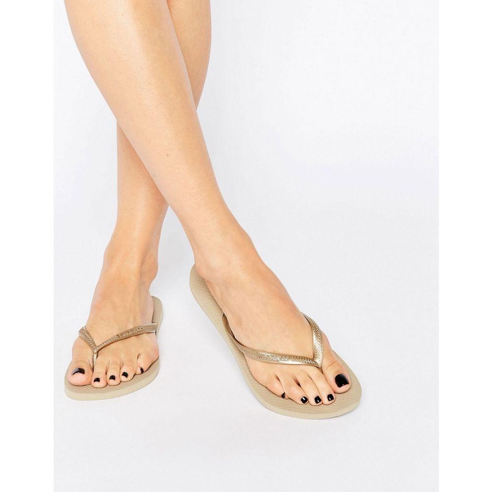 ハワイアナス Havaianas レディース ビーチサンダル シューズ・靴【Gold Slim Flip Flops】