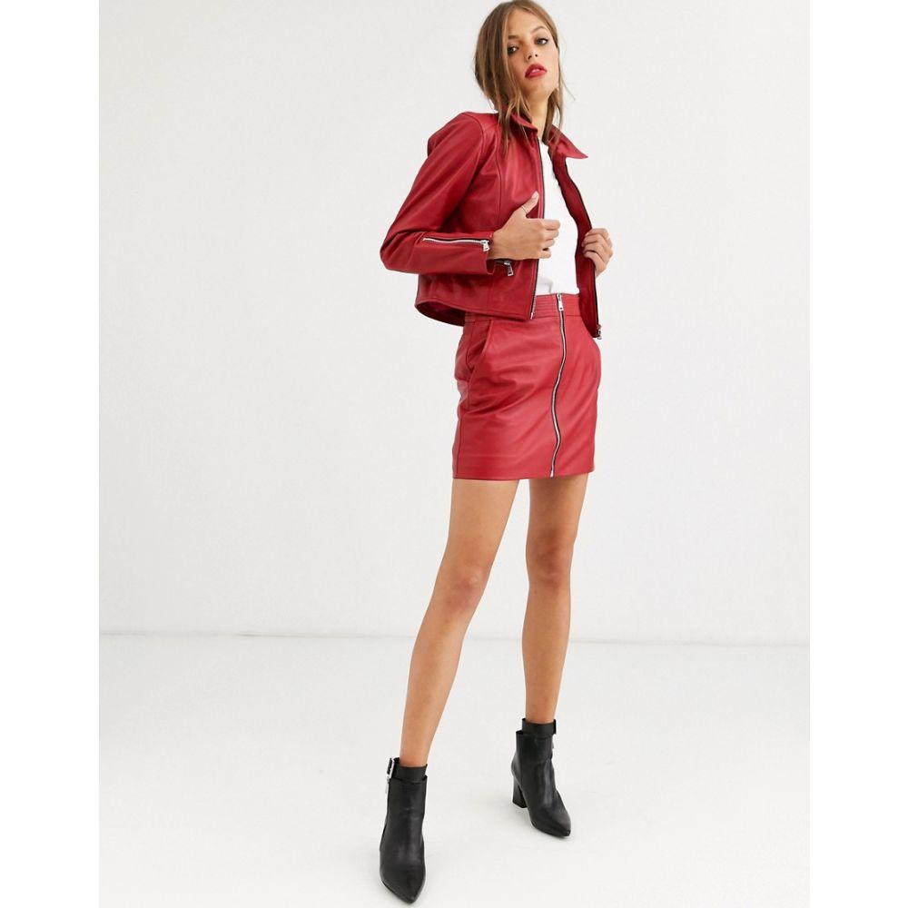 ラブレザー LAB LEATHER レディース ミニスカート スカート【Lab Leather zip through mini skirt】Red