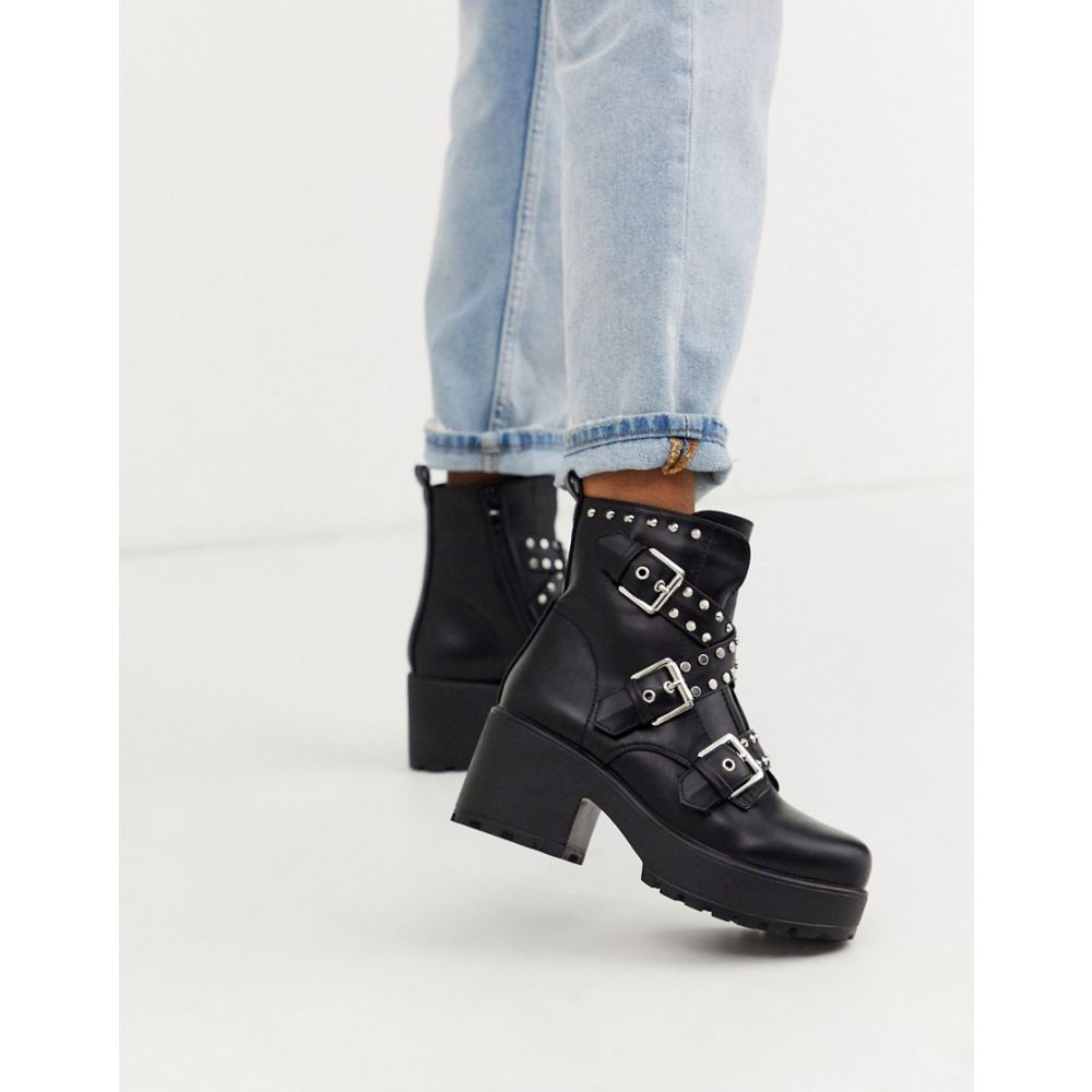 コイフットウェア Koi Footwear レディース ブーツ ショートブーツ チャンキーヒール シューズ・靴【Koi vegan studded chunky ankle boots in black】Black